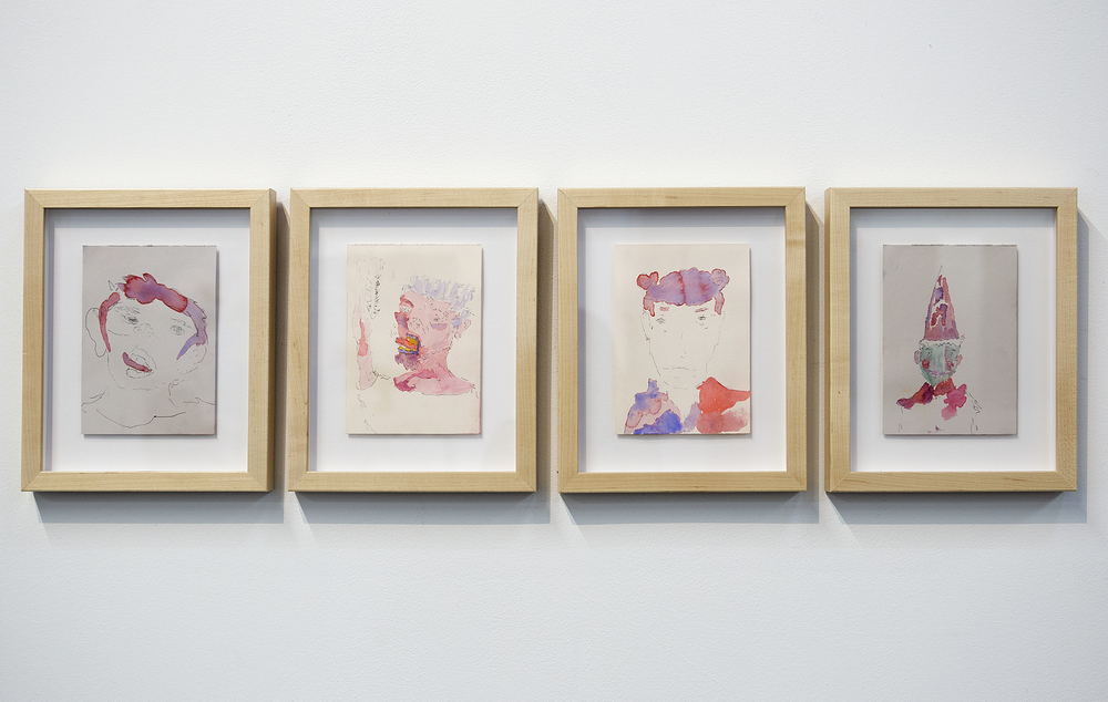 Henry Hopper, Untitled, 2015, watercolor and pen on paper, 7 x 5 inches each
