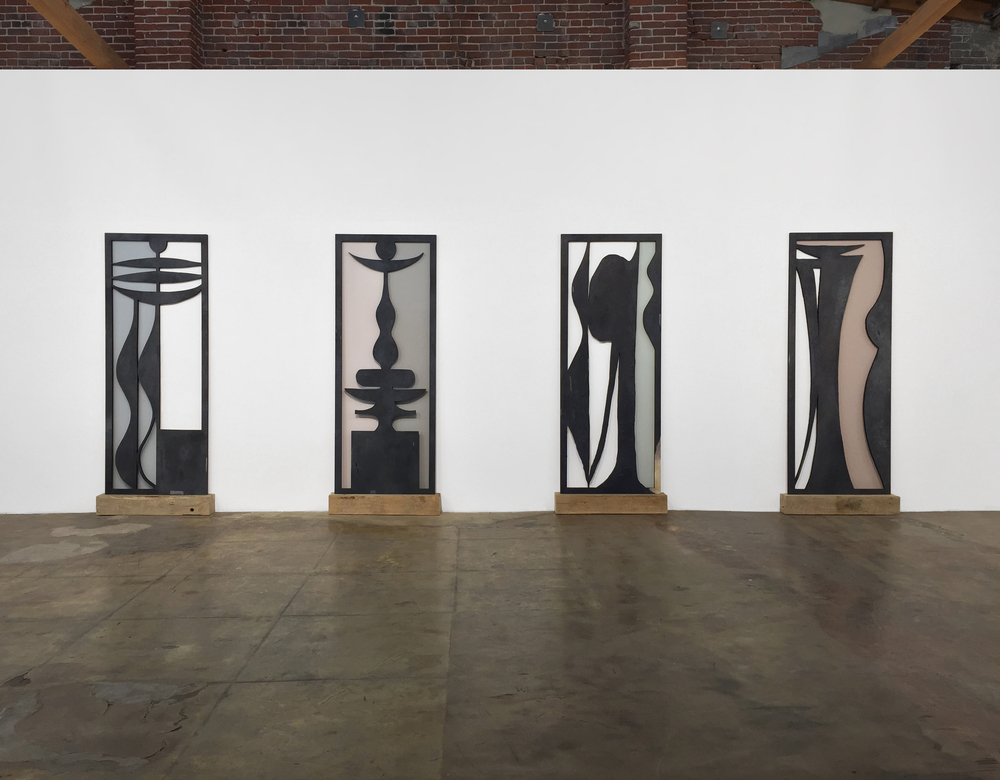 Adam Tullie, Excavation I-IV, 2015, Oil and wood on wax, 84 x 33.75 x 2 inches each, Installation View