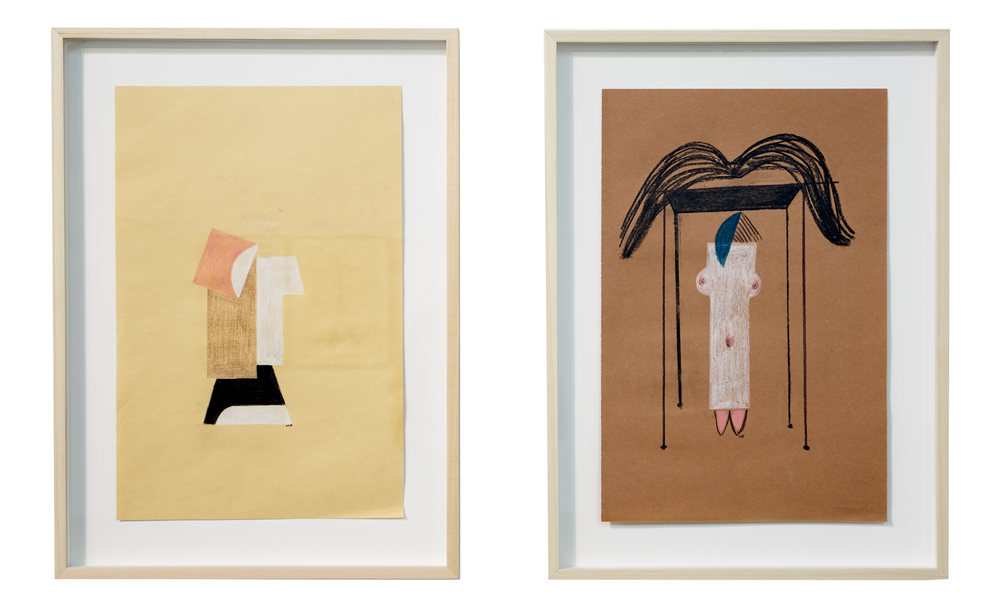 Graveyard architecture , 2015  colored pencil and charcoal on paper  18 x 12 inches (45.72 x 30.48 cm)  left  lady's bedroom , 2015  colored pencil and charcoal on paper  18 x 12 inches (45.72 x 30.48 cm)  right