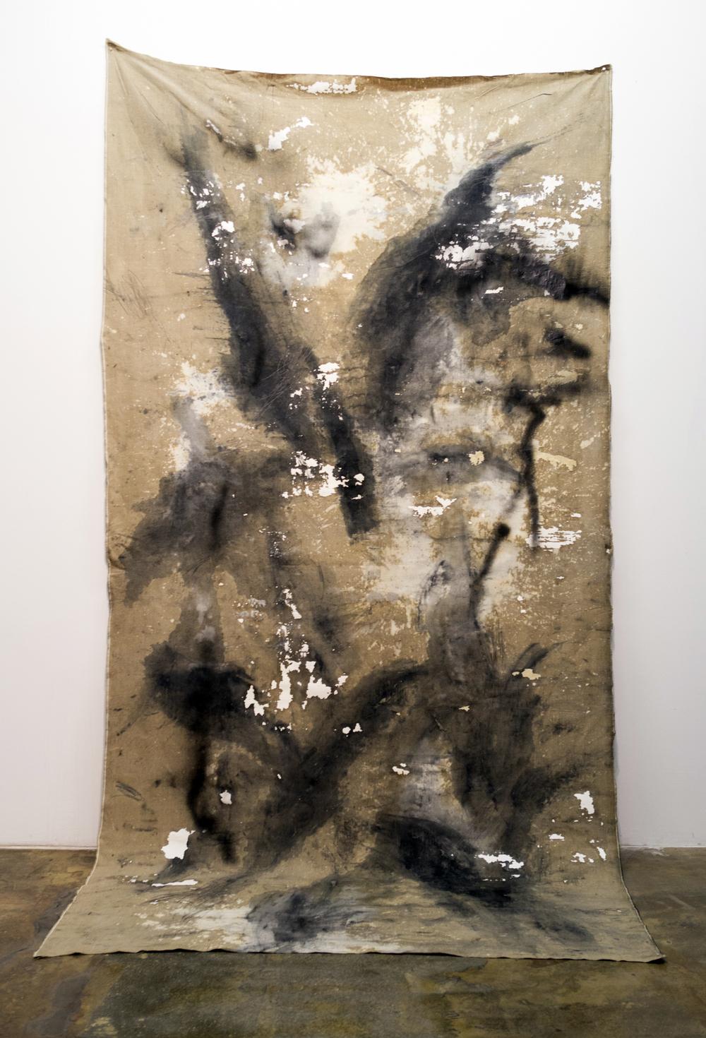 MLSL_06_Wölf,2015 Oil, acrylic, bleach, drywall, lead and spray paint on linen 144 x 71.5 in (365.76 x 181.61 cm)