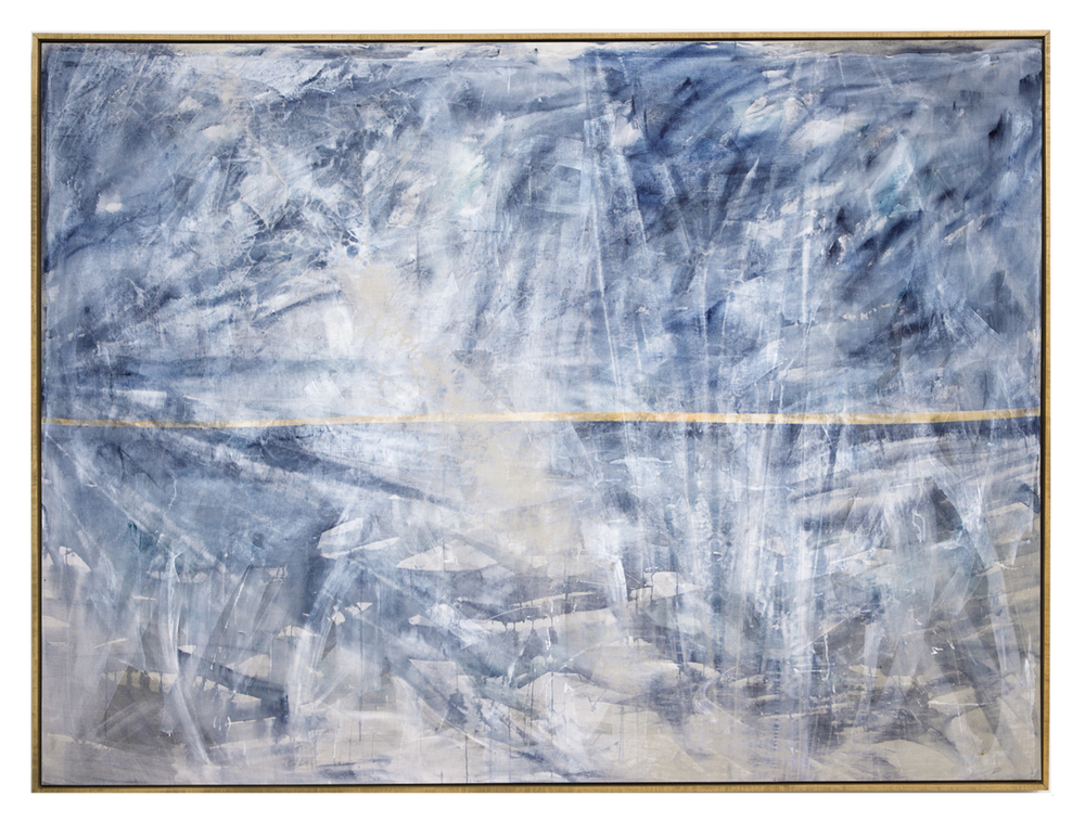 a search for the miraculous on another ocean, 2015  acrylic, watercolor and saltwater on linen  72 x 96 inches (184 cm x 246 cm)