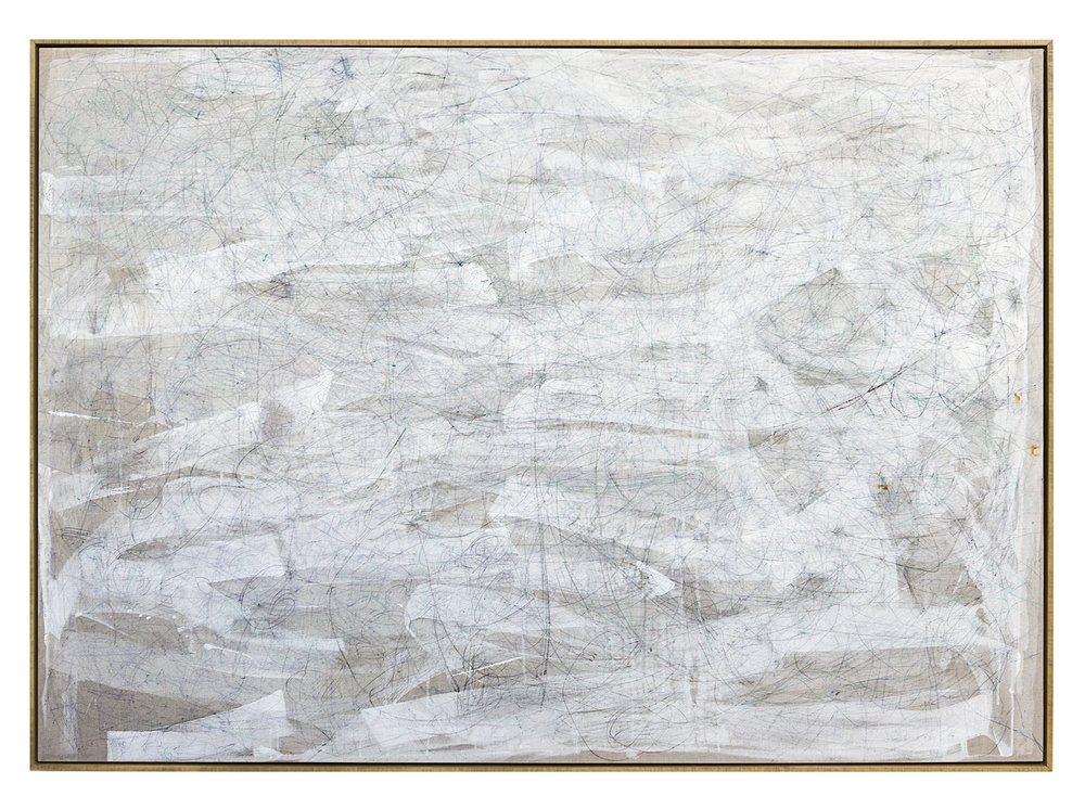 circular movements beneath linear movements beneath circular movements, 2015  acrylic, watercolor, graphite and saltwater on linen  48 x 68 inches (174 x 123 cm)