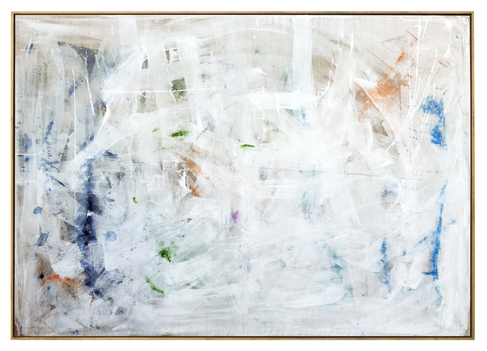 stowaways emerge joyously after three days at sea, 2015  acrylic, watercolor, ink and saltwater on linen  48 x 68 inches (174 x 123 cm)