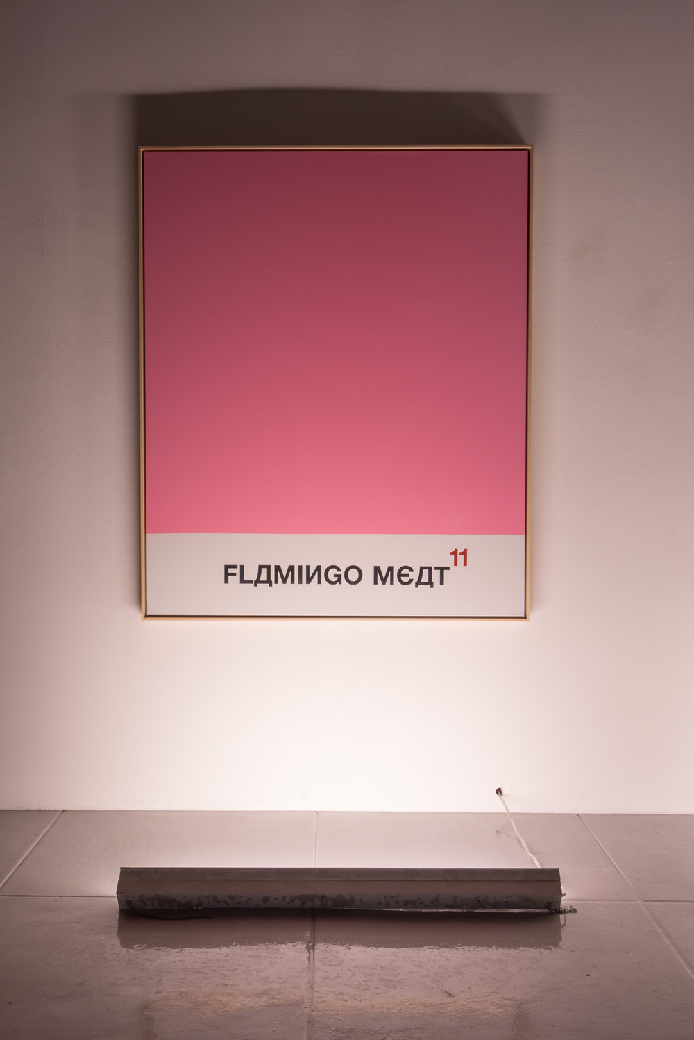 FLAMINGO MEAT, 2016, Acrylic and spray paint on linen, 63.13 x 52.06 in (160.35h x 132.23w cm)