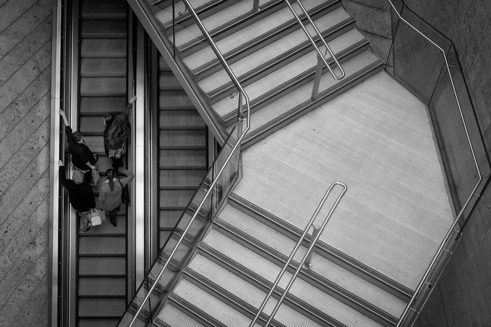Lining Up - Liverpool One shopping centre escalator group of 4 women