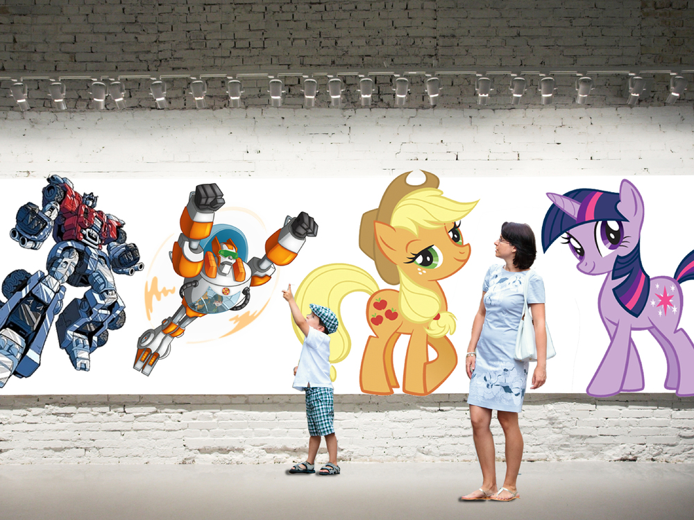 ImaginHtion Nation: A Joy Story. We concepted a video installation experience that projects characters on walls in random places around the country. Animated Hasbro characters interact with people walking by. Cameras record these moments for postings on social media.