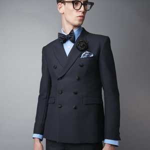 The Maskelyne' Navy Mohair Double Breasted Suit — Joshua ...