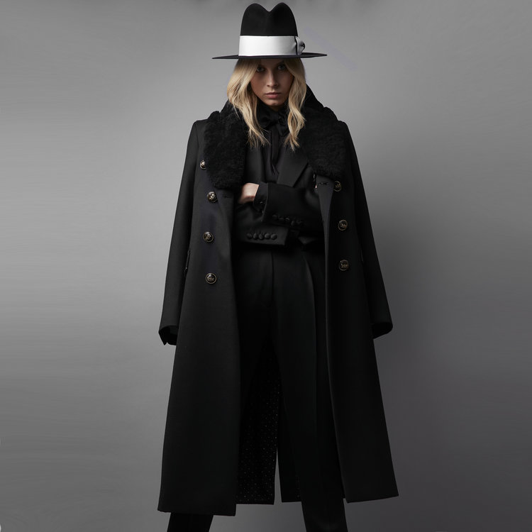 The Fawcett' Black Imperial & Shearling Collar Coat - Made To ...