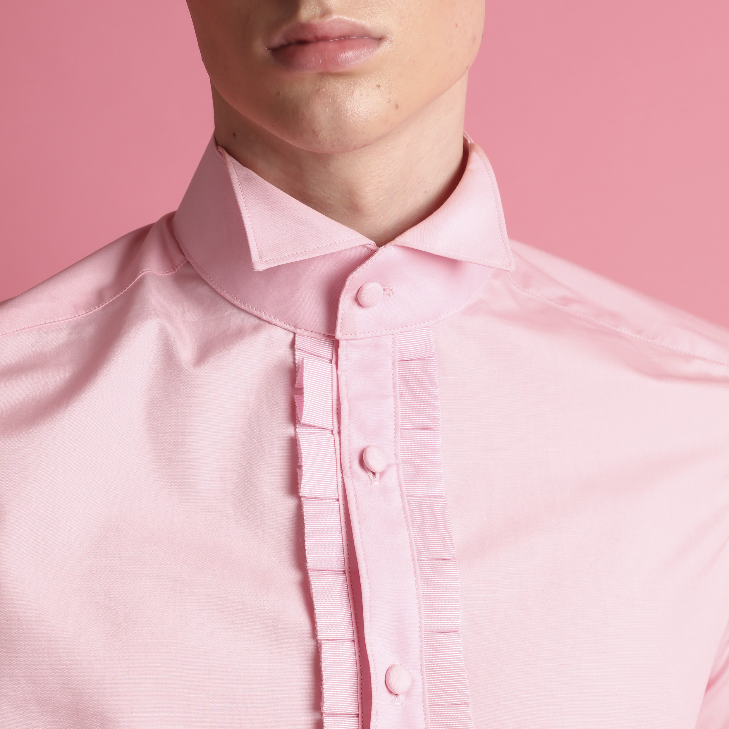 The Walter Pink Wing Collar Shirt Joshua Kanemenswear Fashion