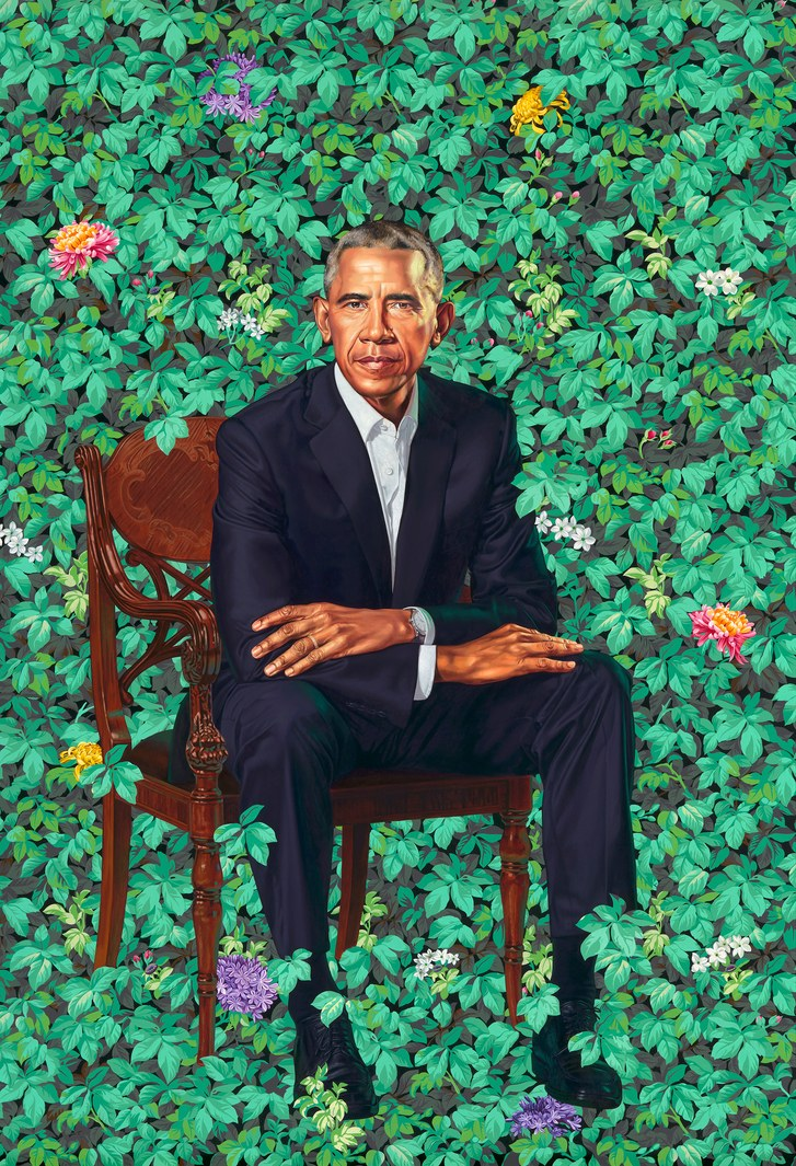 Kehinde Wiley's portrait of President Obama.