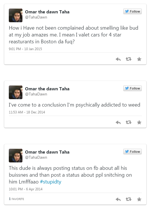 A valet seemingly admits to being a heavy marijuana user on Twitter. It's nothing unusual.