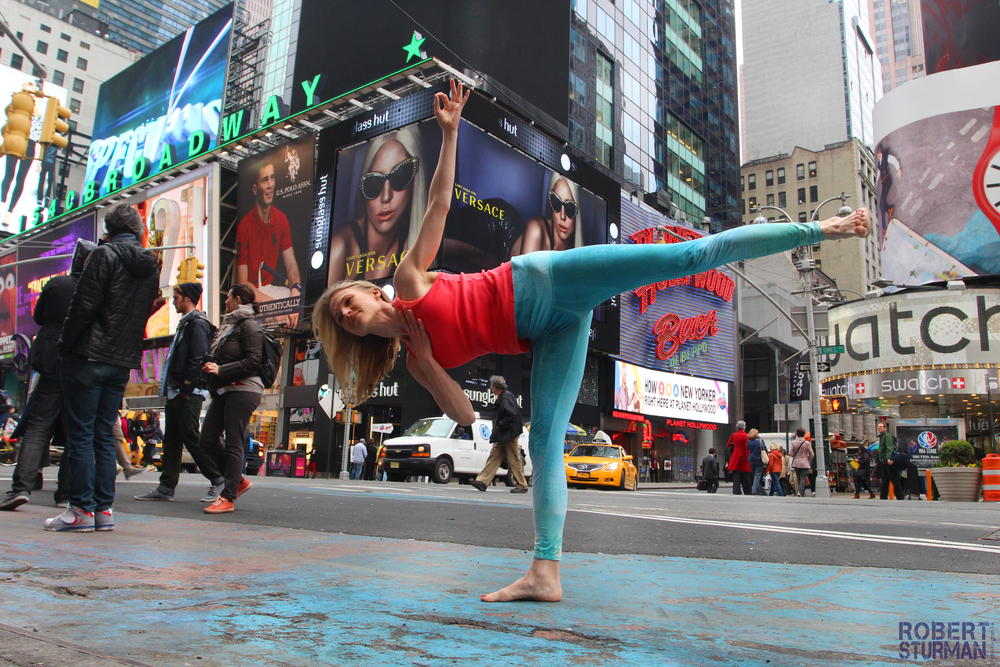 Barefoot in Times Square!