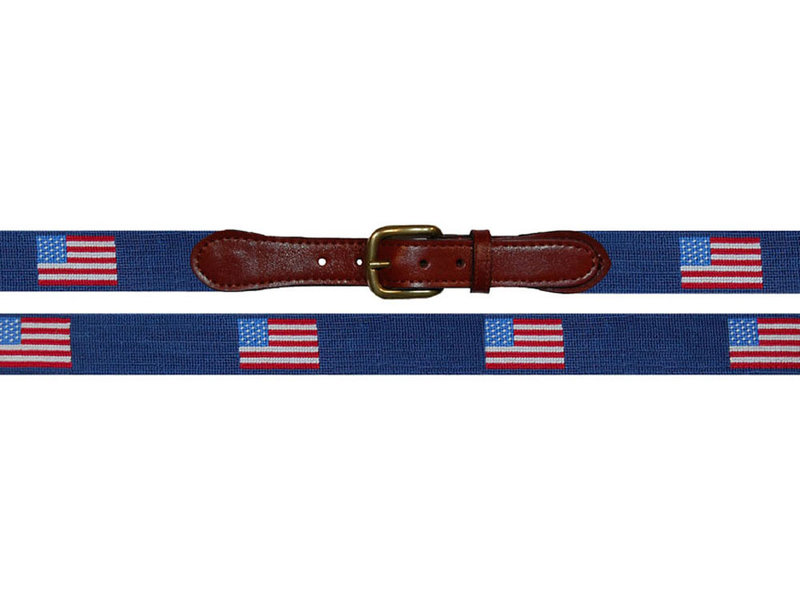 Traditional American Flag Needlepoint Belt on Light Blue