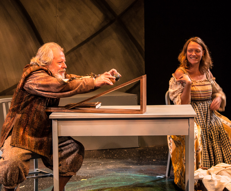Chris Porter as Galileo Galilei with Kate Mura as Celeste Galilei