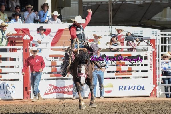 Saddle Bronc Rider, Zeke Thurston Stole the show with an 88.50 Point ride on Vold's Easy to Love! Zeke is your 2015 Calgary Stampede Saddle Bronc Riding Champion!