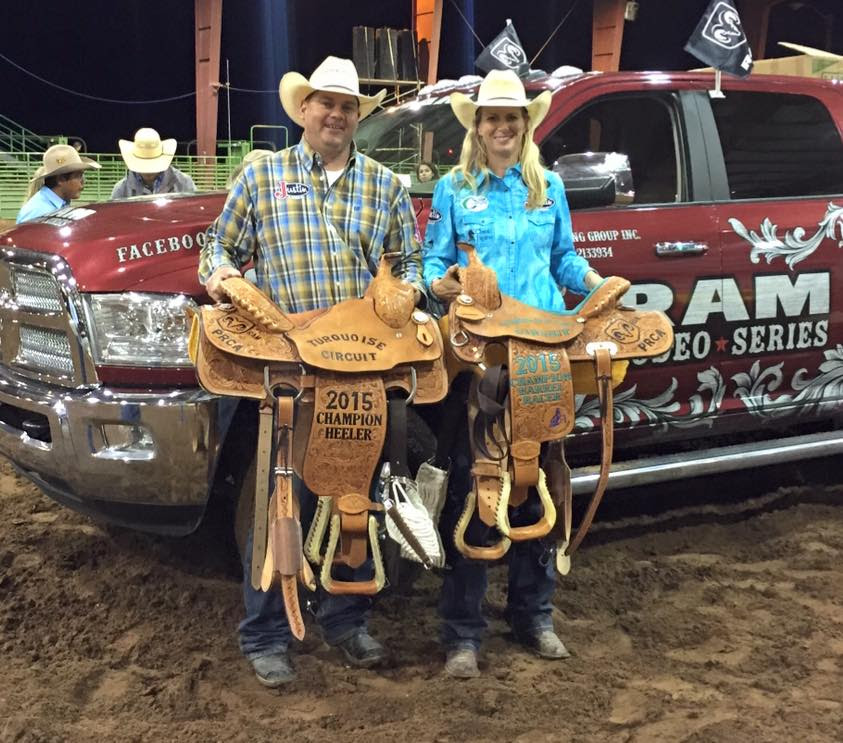 Info: Left 2015 Champion Heeler, Cory Petska. Right 2015 Champion Barrel Racer, Sherry Cervi. Photo Credit, Sherry Vervi.