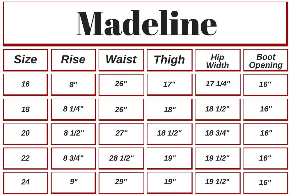 These are based on fabric measurements. The Betty, Jolene, and Madeline have a 1% stretch, so size accordingly