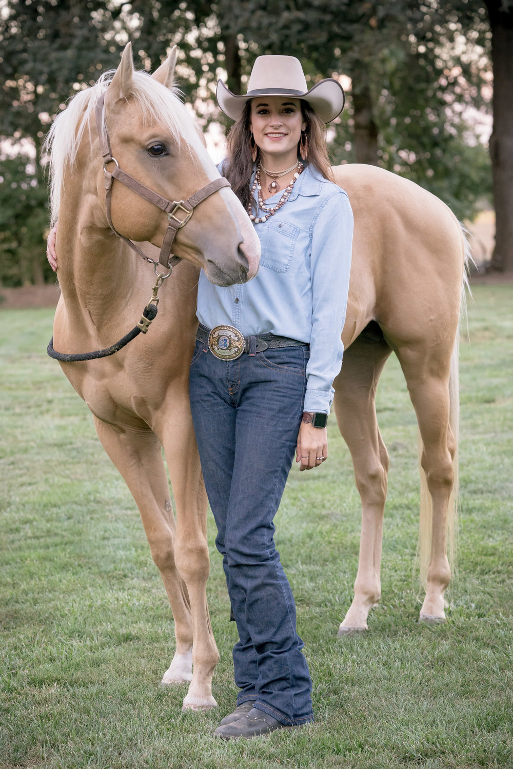 """Pecos Bill is my future competition prospect and the horse that I dreamed of when I was six - what are the odds? I am so thankful for Maddy and Dude and all that they taught me so that I can give PB and I the best chance in the competition ring down the road!  Wearing  Francesca's,  size 4, 38"""" inseam."""