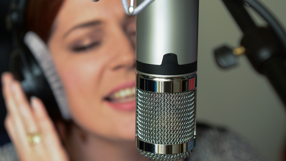 Brittany Nelson recording vocals