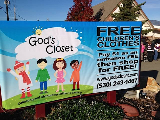 Street Sign for God's Closet Event