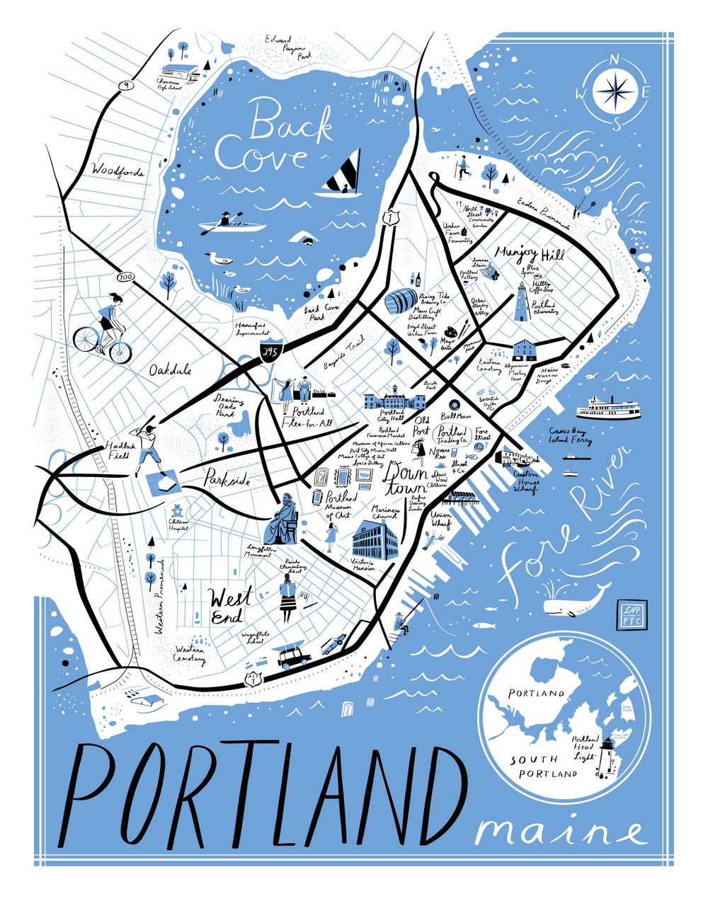 Maine Map Images.Portland Maine Map Libby Vanderploeg