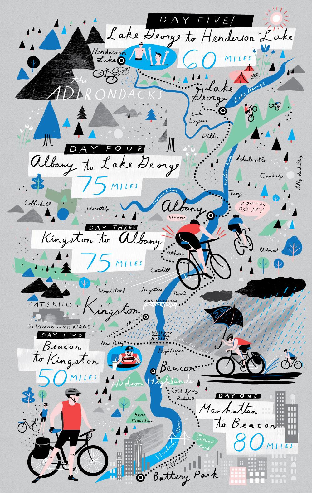 Me encantaría poder ilustrar así una de mis excursiones en bicicleta