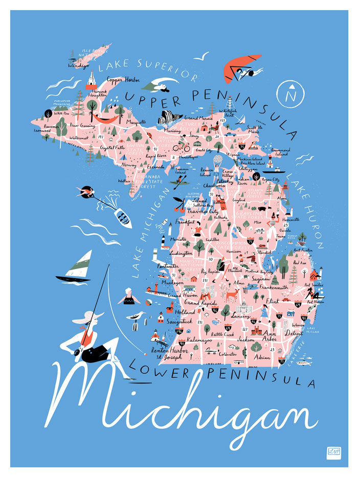 Michigan Map Libby Vanderploeg