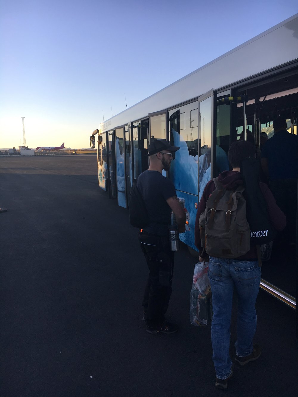The bus from the tarmac to the KEF Terminal