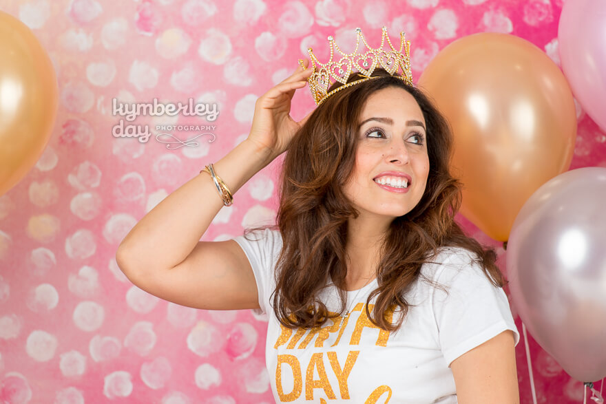 orange county pink and gold birthday photographer