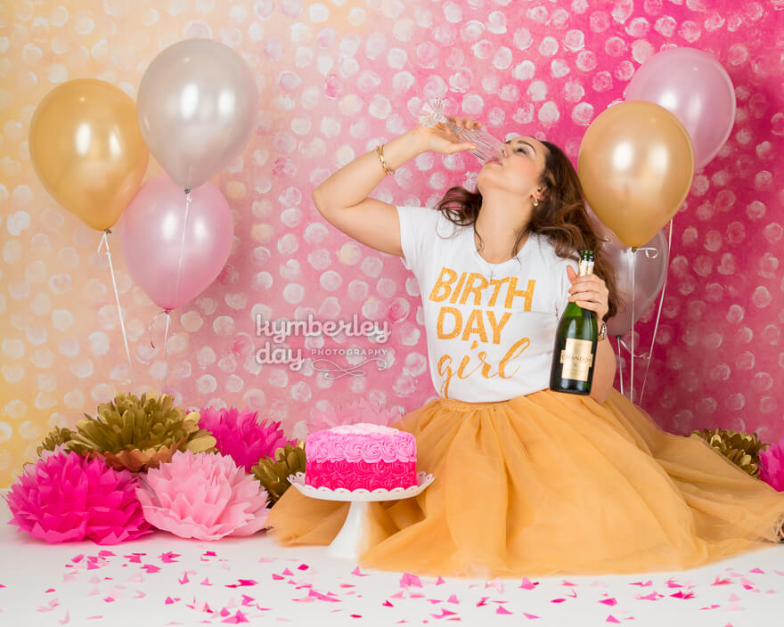 drinking champagne cake smash photography