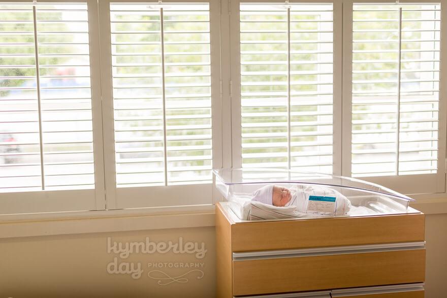 newborn baby in saddleback hospital room