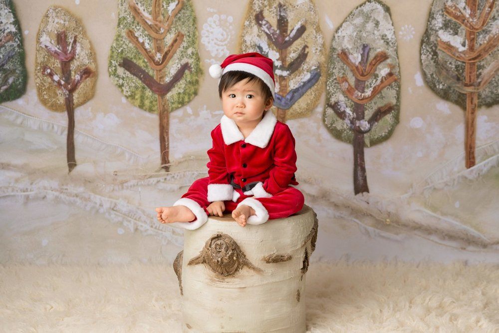 christmas baby sitting on top of tree stump