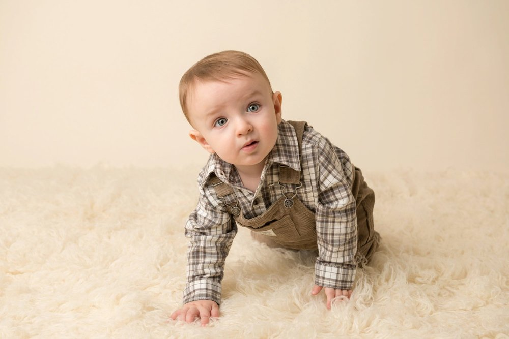 gap kids GQ baby on cream with plaid overalls