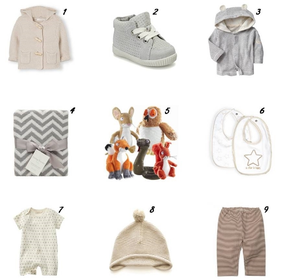 1Country Road Toggle Knit Hoodie   2Country RoadSuede High Tops    3  Organic Stripe Terry Bear Hoodie     4  Myer Grey Chevron Blanket    5  Gruffalo Story book Toys    6  Pumpkin Patch Bibs    7  GAP Organic Little Star One Piece    8  Papinelle Beanie    9  Zutano Chocolate Candy Stripe Pants