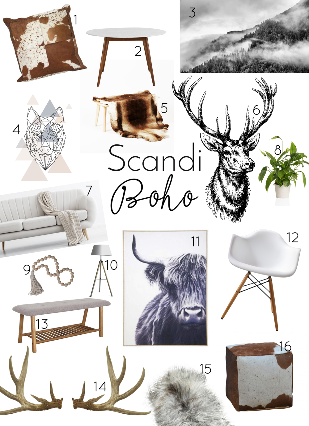 Think of… - blonde and light timber, highland cows, antlers, cow hides, macrame, Ikea