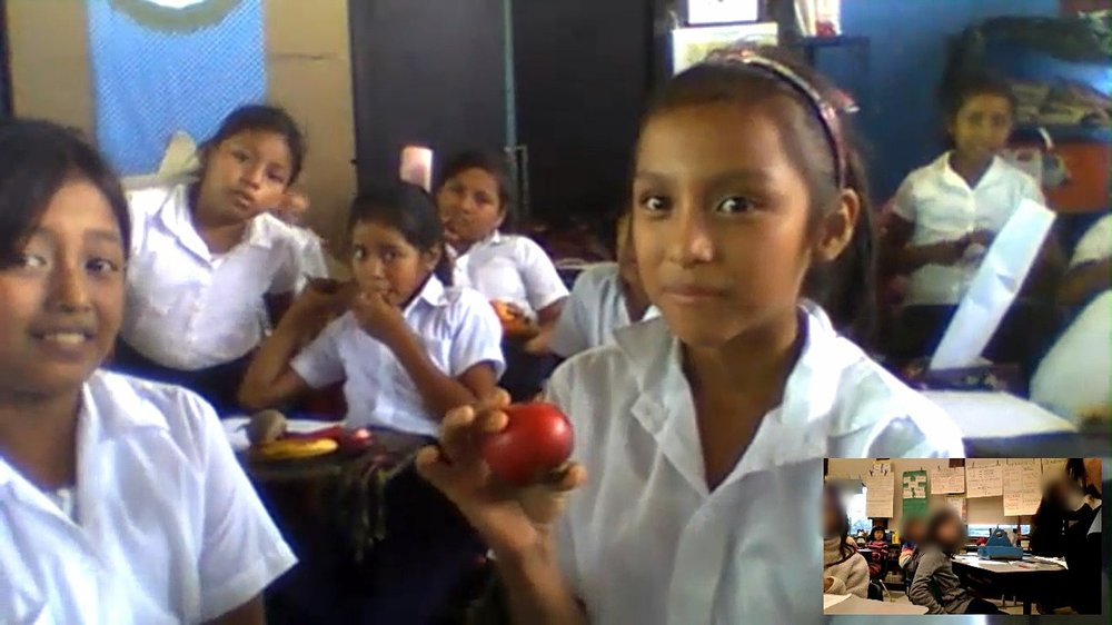 Student shares about her favorite vegetable (tomatoes) through a virtual exchange