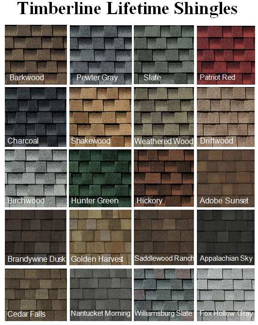 Just some of the GAF shingle color options available for your next roofing installation or replacement.