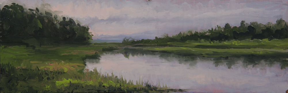 "Rand's Canal. Oil on Panel. 8"" x 24"" Location: Falmouth, MA                                                                                       Photo Credit Hayward Photography"