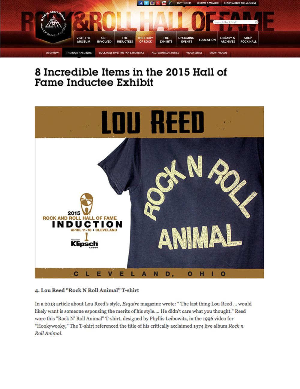 LOU REED ROCK & ROLL HALL OF FAME