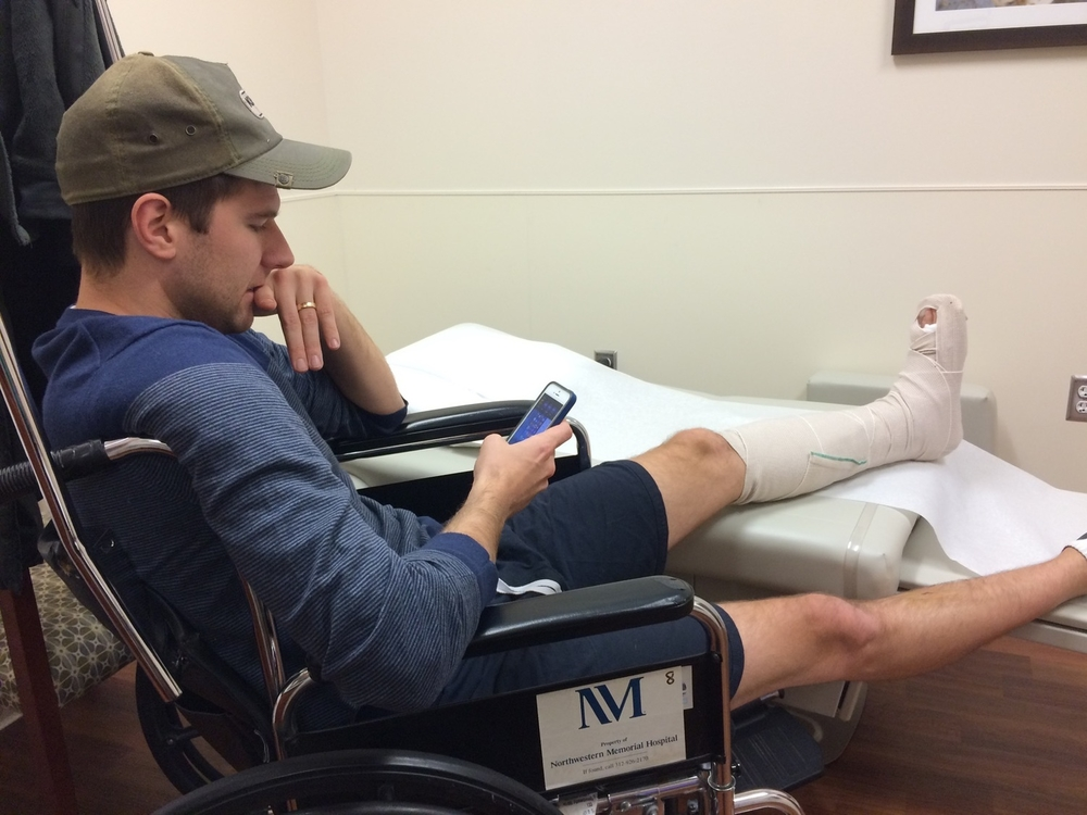 Jesse Gerard in the hospital after the victory texting the team to make sure that we won