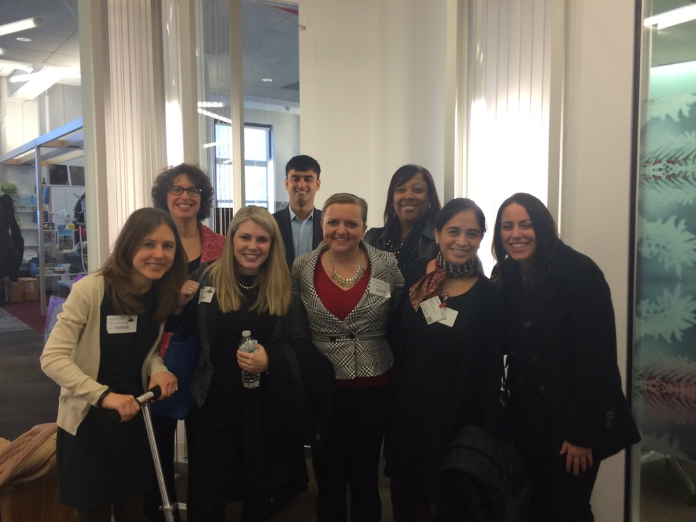 @ Google (from L to R) Jenny Farrall, Stephanie Nowell, Jay Raghavan, Heather Rubacky, Isa Zelaya, Jana Zagorski, and Janice Farrar and Fern O'Neill from career services.