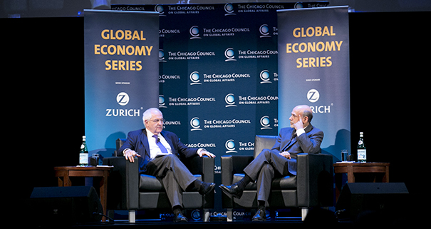 Ben Bernanke with Martin Wolf on the Global Financial Crisis Credit: The Chicago Council