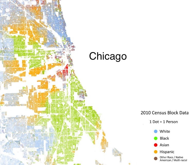 According to Nate Silver, Chicago ranks as #1 most segregated city in America. Dot matrix map courtesy of Dustin Cable.