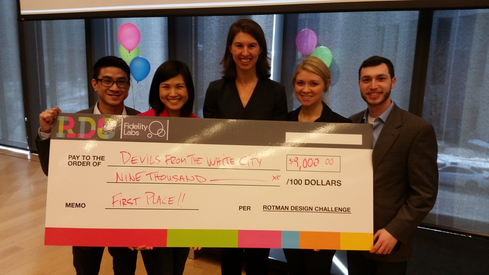 First-year students Samantha Set, Michael Cheng, Lizzie Pine, Katarina Lackner, and Yoni Sarason took home the Rotman Design Challenge 1st Place.