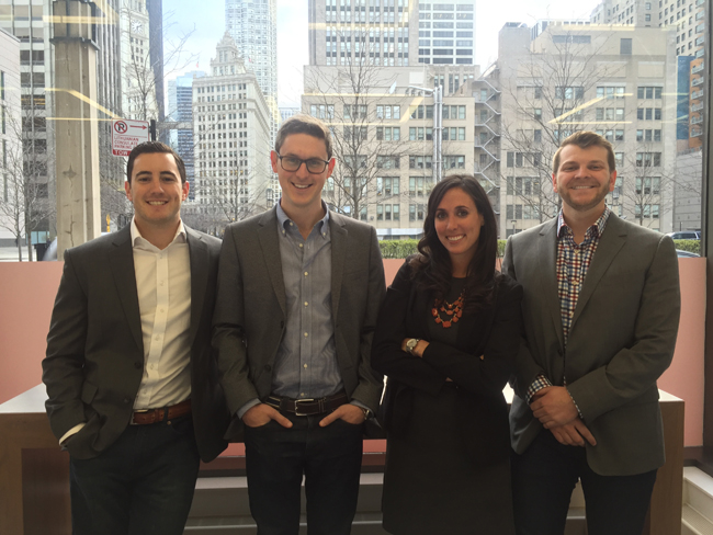 Class of 2016 TransparentMBA co-founders,Jeremy Selbst, Mitch Kirby, Alyssa Jaffee, and Kevin Marvinac, pose like bosses.