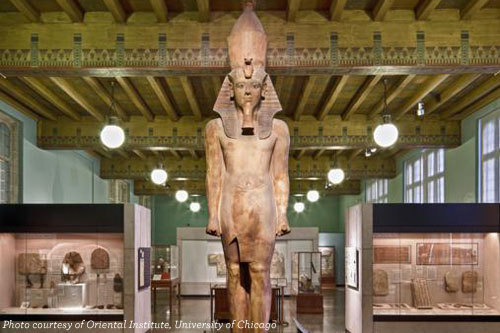 King Tut stands 17-feet above the main exhibit hall at the Oriental Institute.
