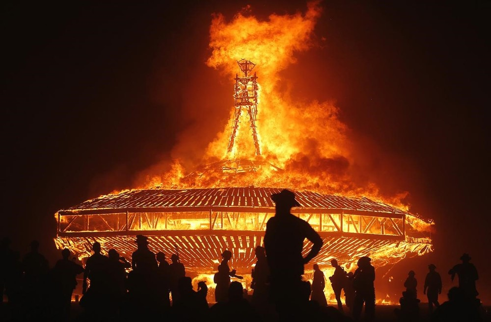 Burning Man, a celebration of art and community, heats up the Black Rock Desert Region of Nevada, Aug 28-Sept 5.  Source: theguardian.com, Photograph: Jim Urquhart/Reuters