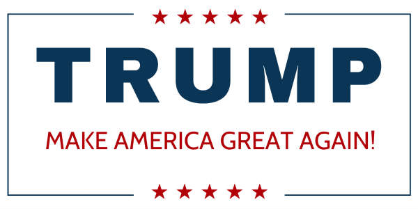 Trump started his campaign with the amateurish Times New Roman and Arial, bold capitalized. As he advanced in the campaign, he changed to a 19th century font (Grotesk), still bold and capitalized.