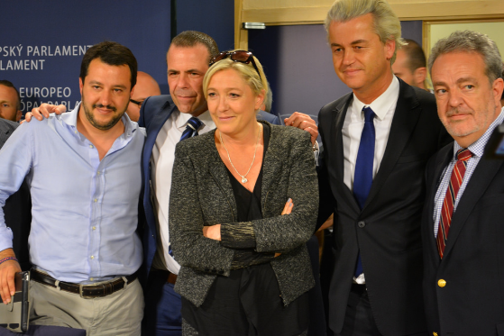 Marine Le Pen surrounded by allied European extreme-right leaders