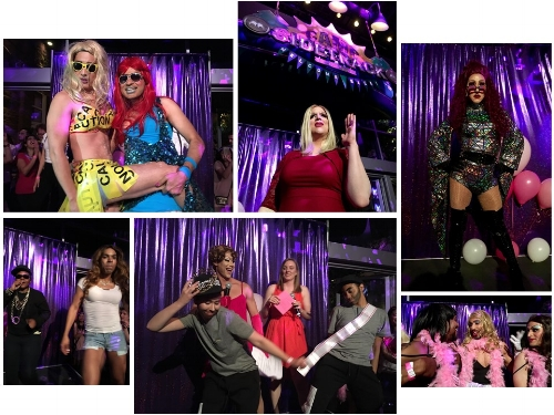 "Row 1 (L to R) The LEAD queens pose for the cheering crowd; ""Adele"" croons for the crowd; Krissy Feetface ready to own the stage.  Row 2 (L to R) Tasha Fierce and Hay-Z ready to rock it; Winners of the Pink Party 2017 Crown; Rugby team celebrates a victory on the field, on the stage"